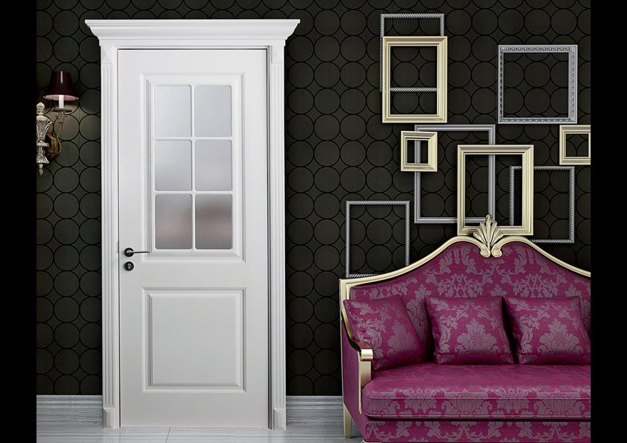 Puerta de madera interior con acabado blanco y vidrio for Puertas de madera blancas con vidrio