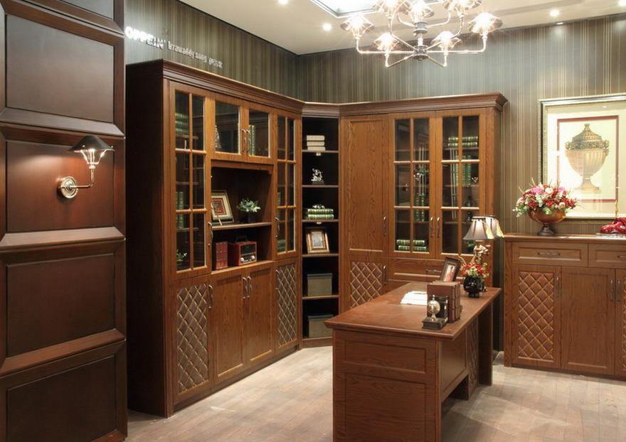 Biblioteca en madera de cerezo puertas caladas en rombos - Libreria de madera ...