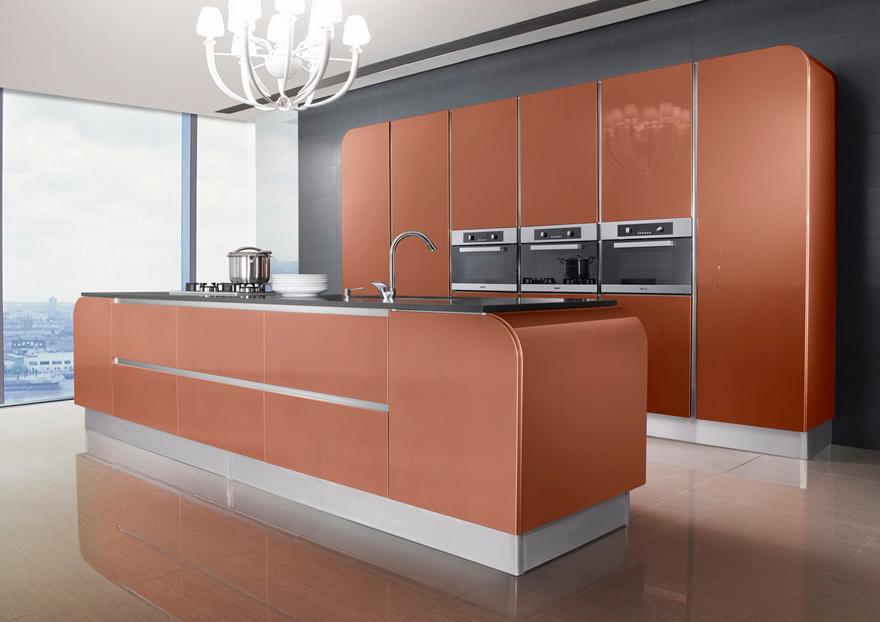 Cocina New Age, con bordes redondos, en PVC color cobre - Casabella