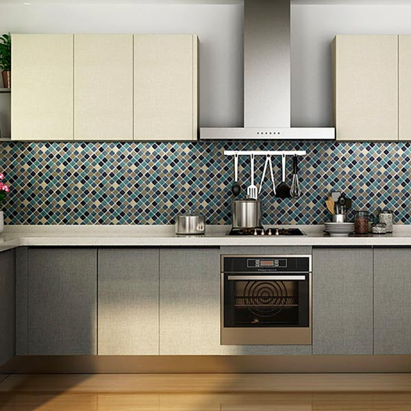 Mueble de Cocina Moderno de Melamina en Color Blanco y Gris OP15-M01 ...